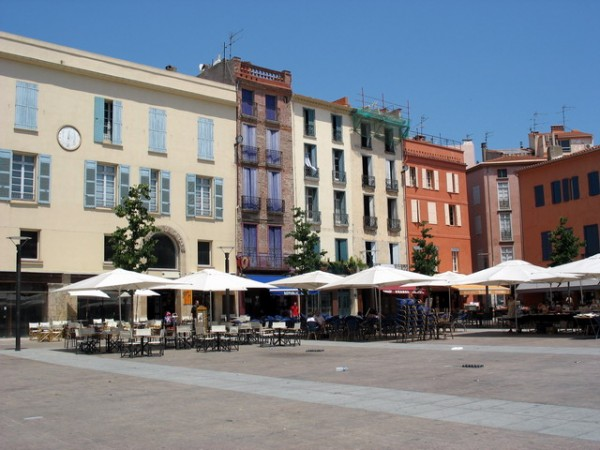 Square with cafes in Perpignan, Southern France