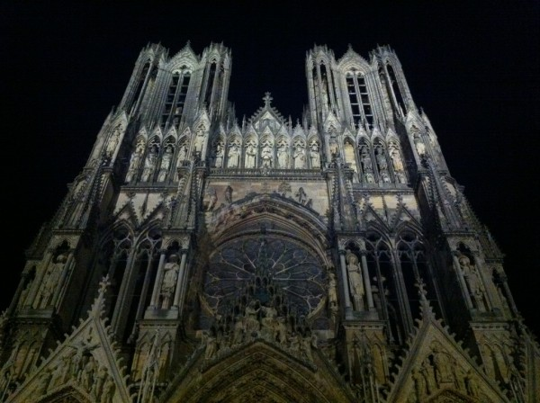Portion of Reims Cathedral by night DaveOnFlickr/Flickr