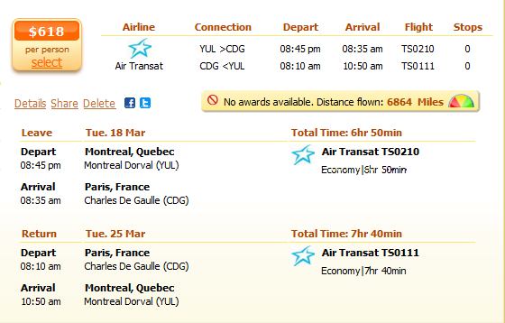 Montreal to Paris flight details